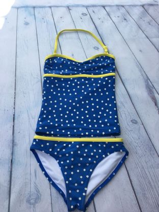Mini Boden blue spotty tankini with yellow piping age 7-8